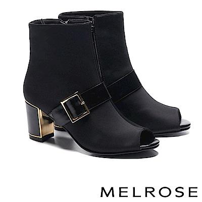 短靴 MELROSE 摩登時尚飾釦造型異材質魚口粗高跟短靴-黑