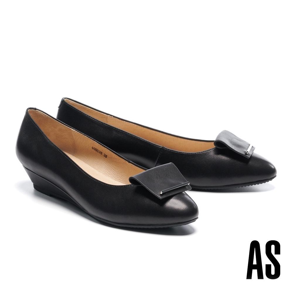低跟鞋 AS 反折金屬帶釦全真皮尖頭楔型低跟鞋-黑