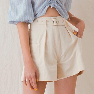 AIR SPACE LADY 口袋顯瘦寬口短褲(附腰帶)(奶油白)