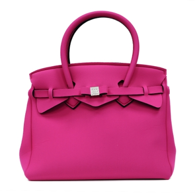 SAVE MY BAG 義大利品牌 MISS PLUS升級版 桃紅色超輕量拉鍊手提托特包
