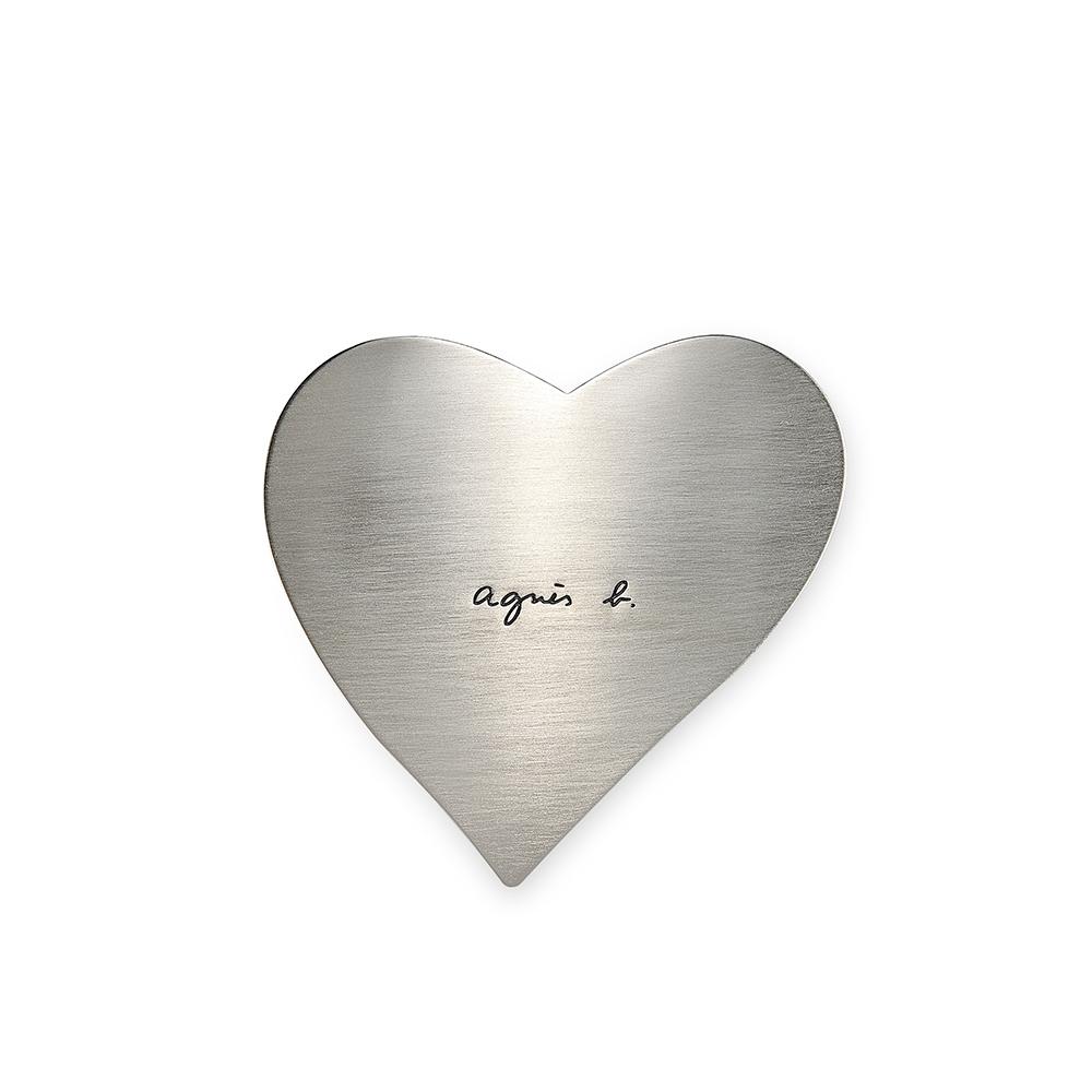 agnes b. 心型髮夾(銀)