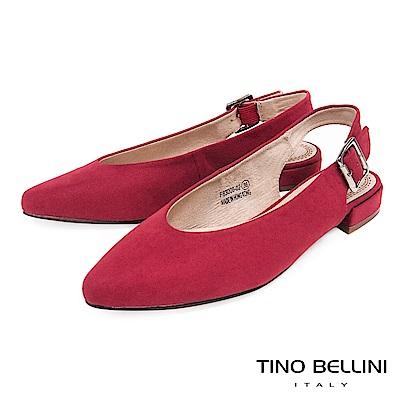 Tino Bellini 簡約尖楦金屬側釦帶平底鞋 _ 紅
