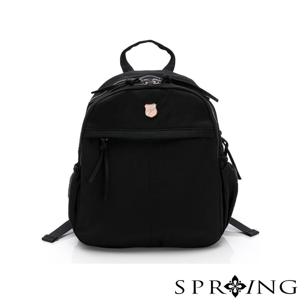 SPRING-復古質感系列天絲皺尼龍後背包A款-經典黑