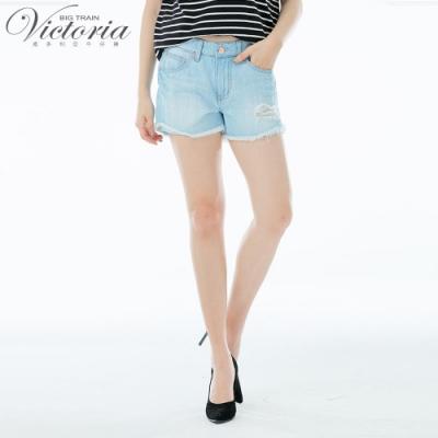 Victoria 純棉淺藍丹寧單捲口短褲-女-淺藍