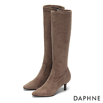 達芙妮DAPHNE 長靴-原色流線馬鞍靴面高跟長靴-杏