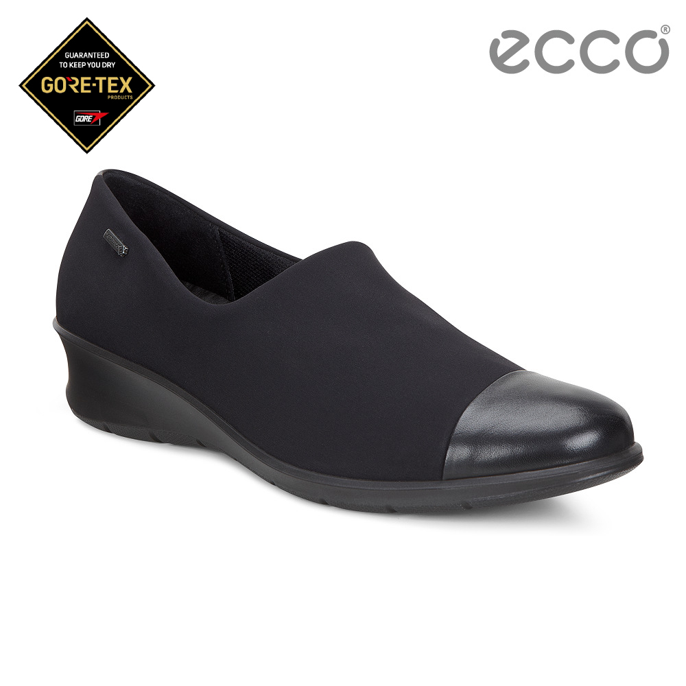 ECCO FELICIA 極簡拼接設計防水跟鞋 女-黑