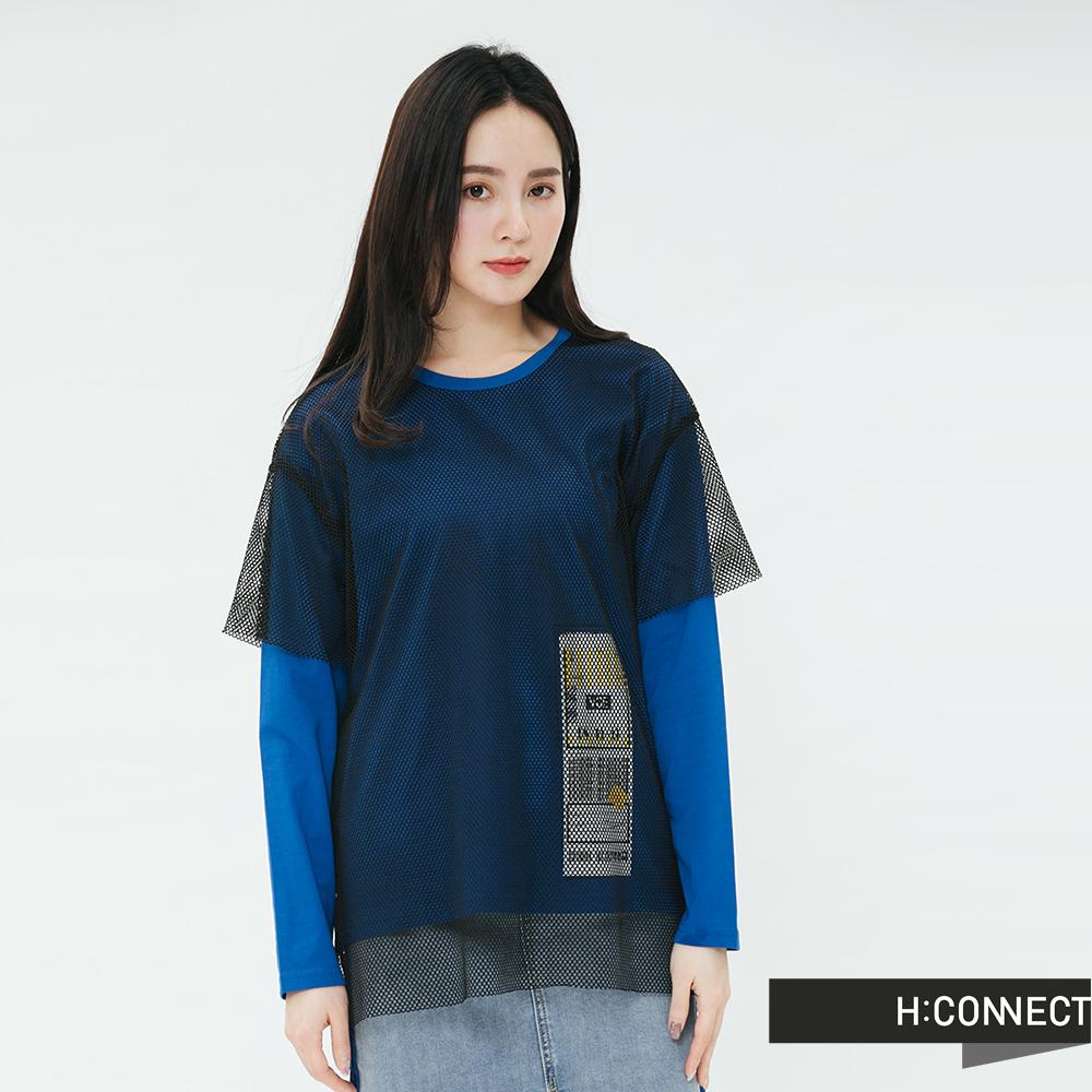H:CONNECT 韓國品牌 女裝-網紗拼接造型上衣-黑
