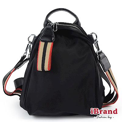 iBrand後背包 簡約漾彩織帶尼龍3way後背包-黑米紅