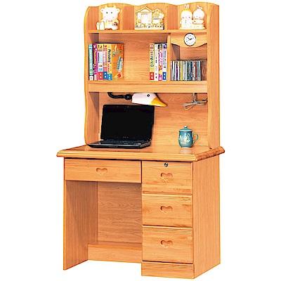 綠活居 哥斯時尚 3 尺實木書桌/電腦桌組合(上+下座)- 90 x 60 x 162 cm-免組
