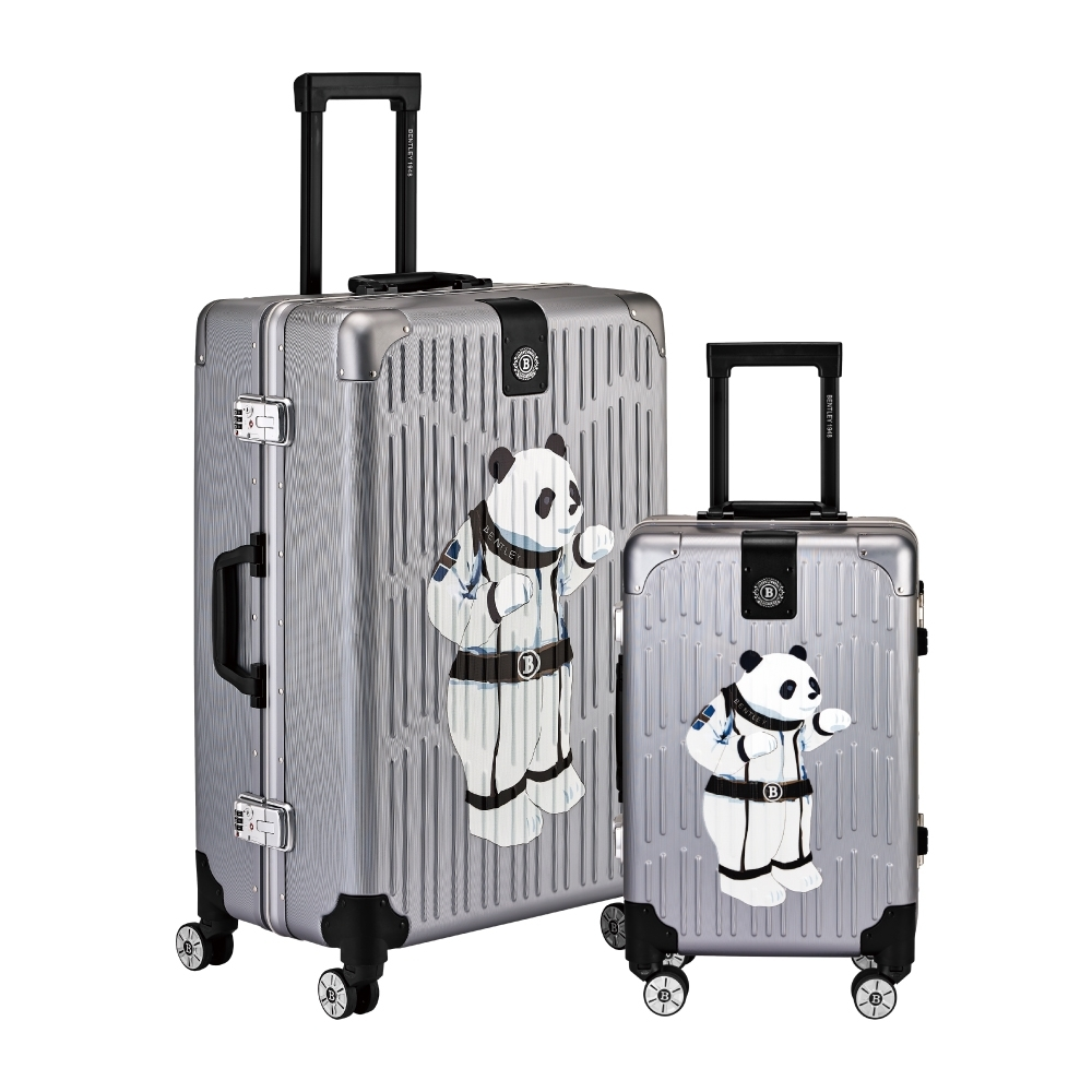 BENTLEY 26吋+20吋 PC+ABS 鋁框輕量家徽熊貓版行李箱 二件組-槍色