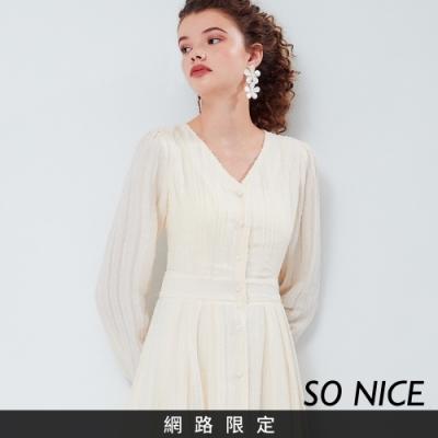 SO NICE復古風緹花雪紡洋裝