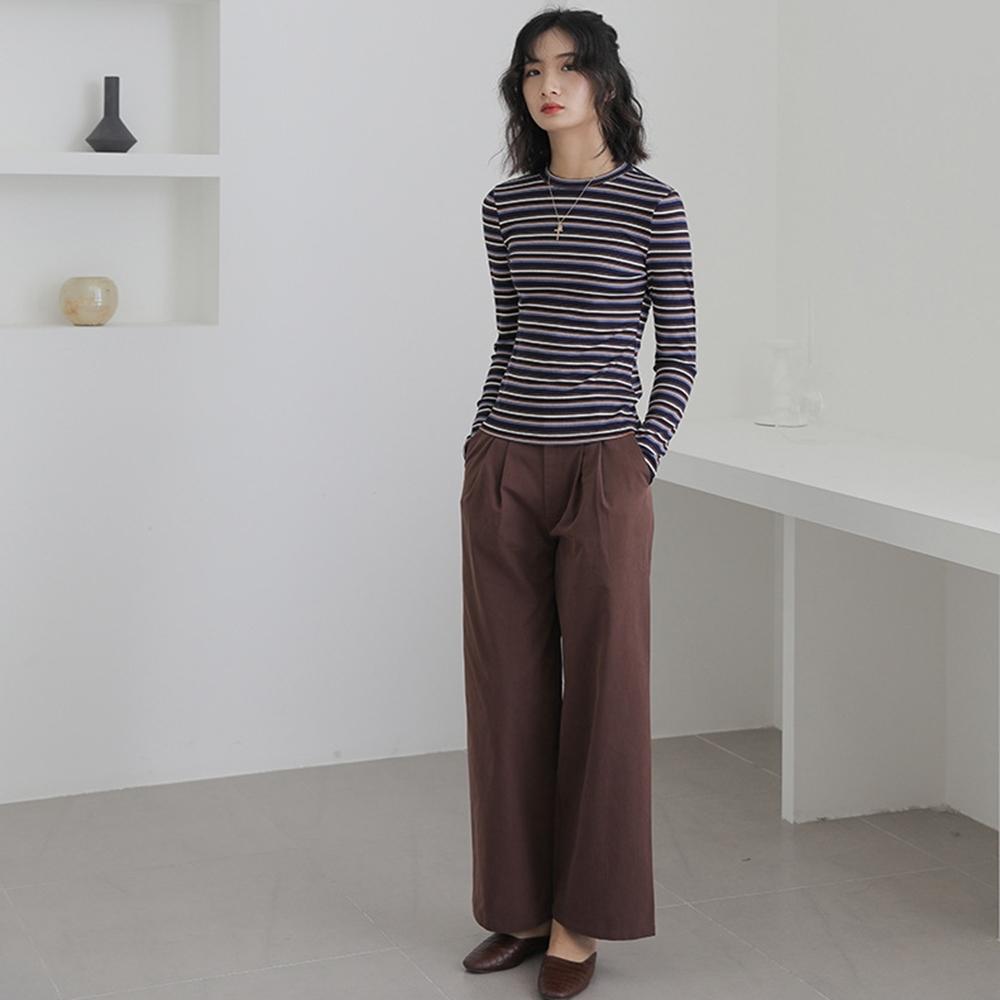 THG 韓版百搭休閒學生款寬鬆闊腿褲長褲- 咖啡/白