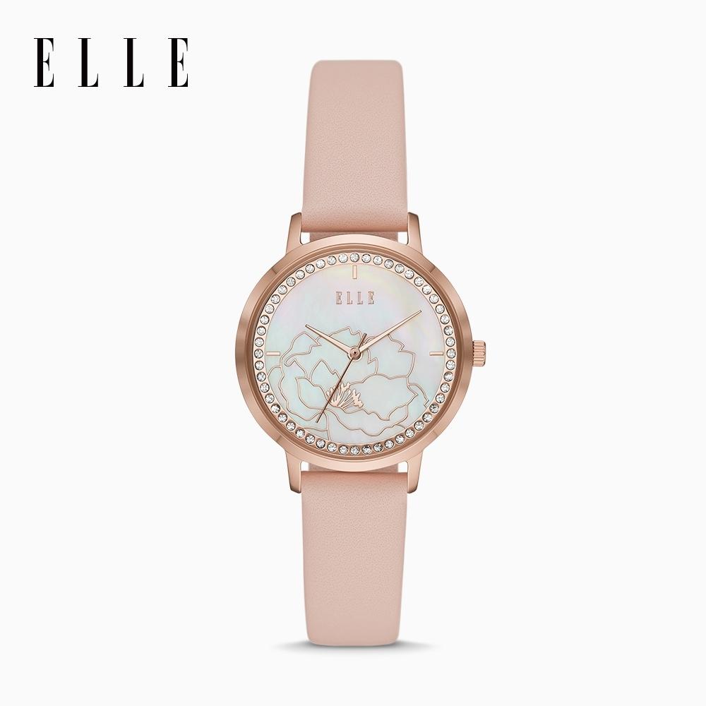 ELLE Châtelet 粉嫩玫瑰小城堡腕錶 玫瑰金X粉皮革錶帶 32mm ELL25028