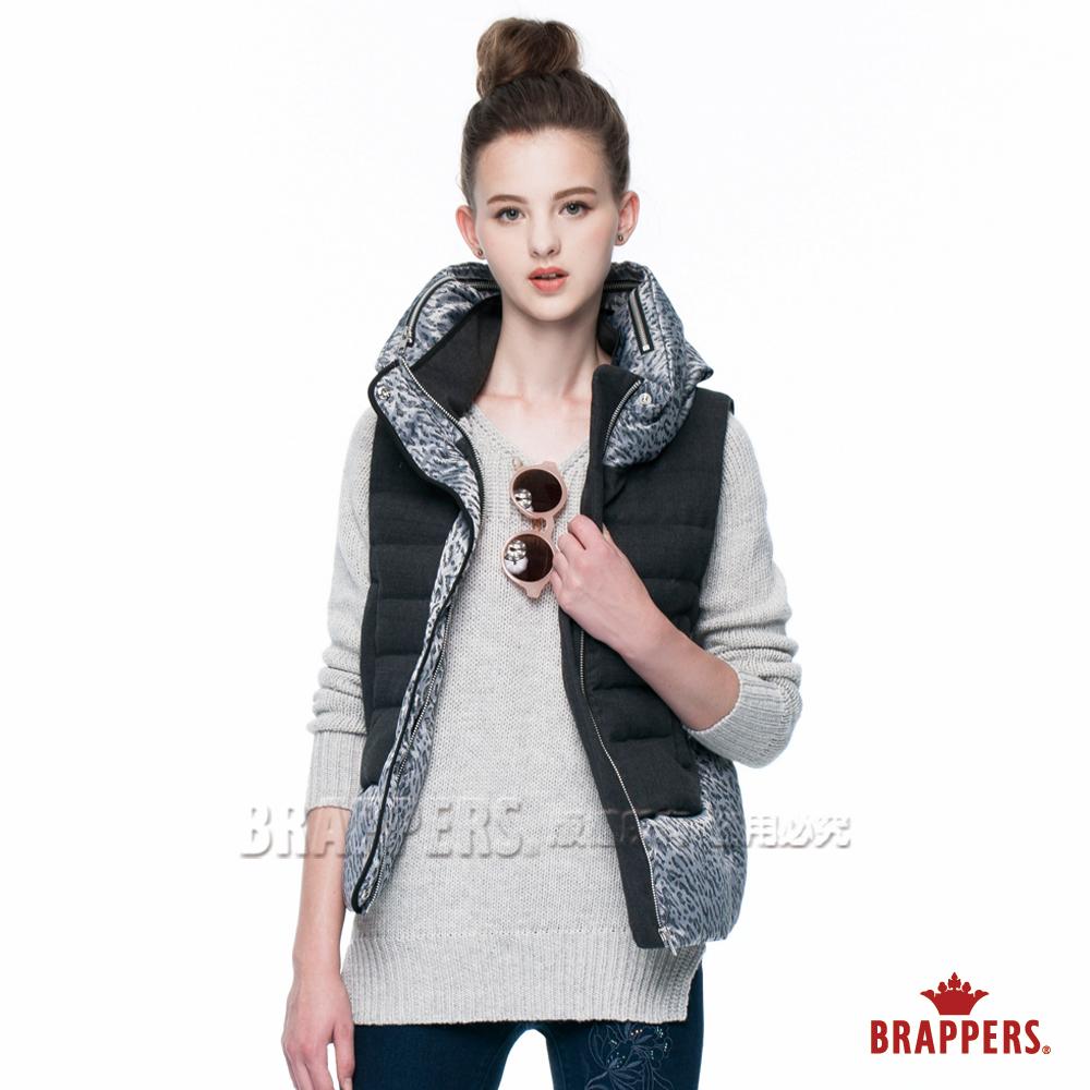 BRAPPERS 女款 女用豹紋拼接羽絨背心-灰