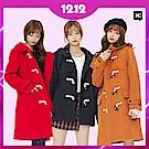 H:CONNECT 韓國品牌 女裝 - 雙口袋牛角扣連帽外套 (快)