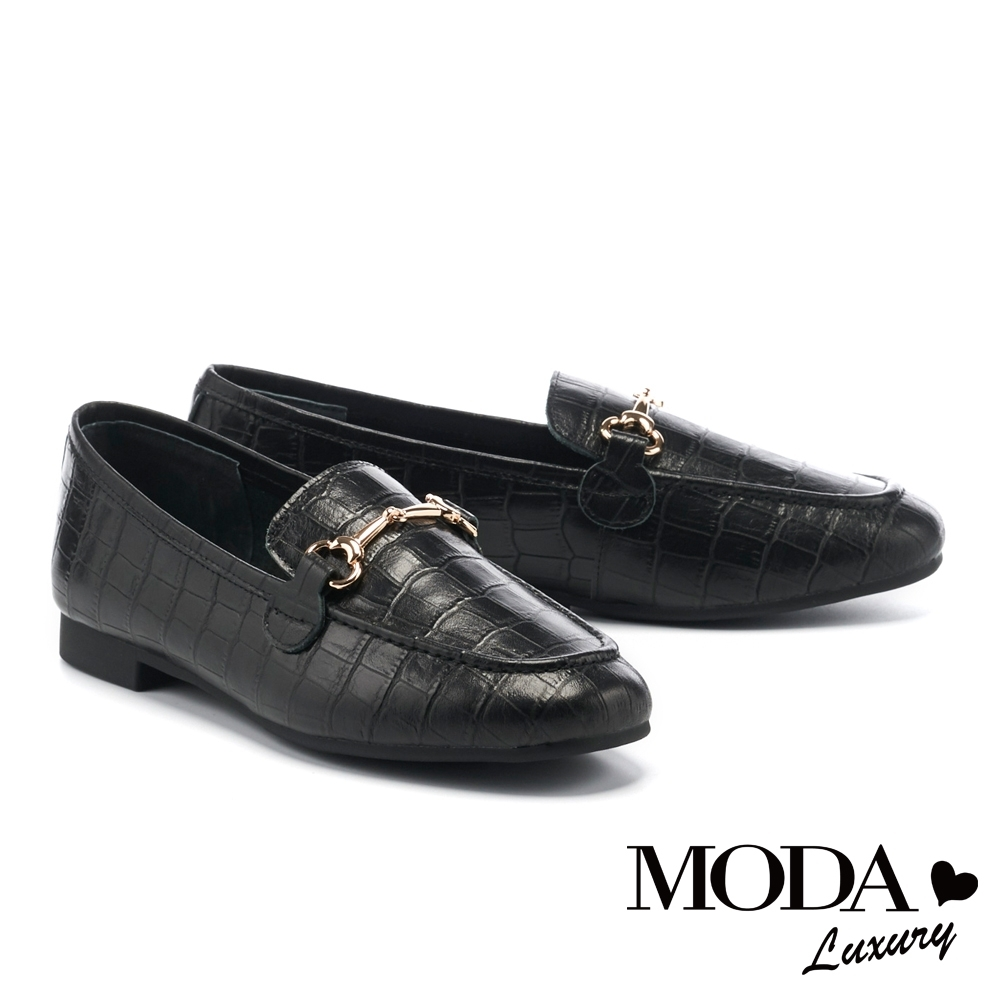 低跟鞋 MODA Luxury 復古個性鱷魚壓紋馬銜釦樂福低跟鞋-黑