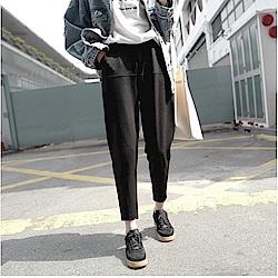 IMStyle 韓版寬鬆顯瘦九分褲(黑色)