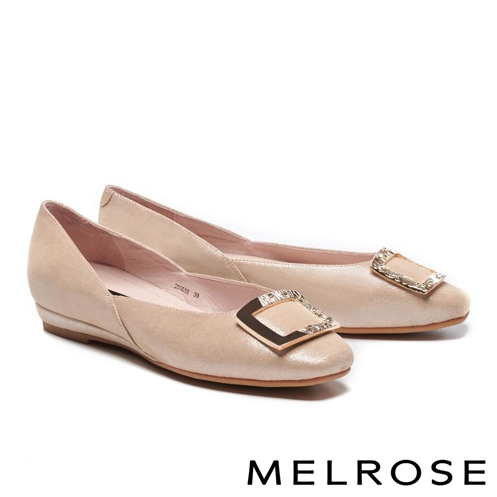 低跟鞋 MELROSE 經典時尚金屬方型飾釦造型全真皮低跟鞋-金