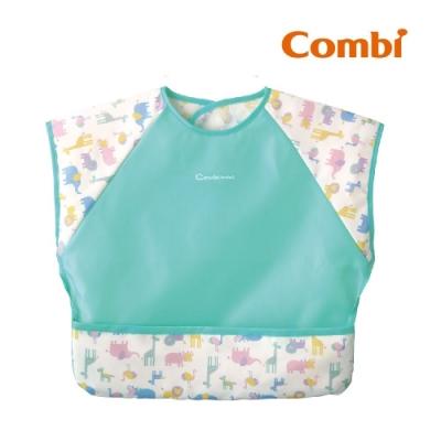 【Combi】Combimini 短袖食事圍兜- 長頸鹿(草原綠) (L)