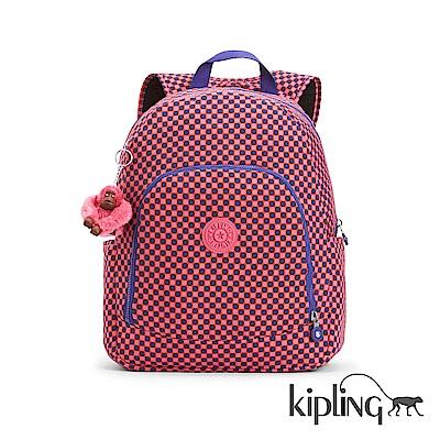 Kipling 後背包 粉紫圓點點印花-大