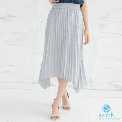 earth music 不規則下擺設計格紋百摺裙
