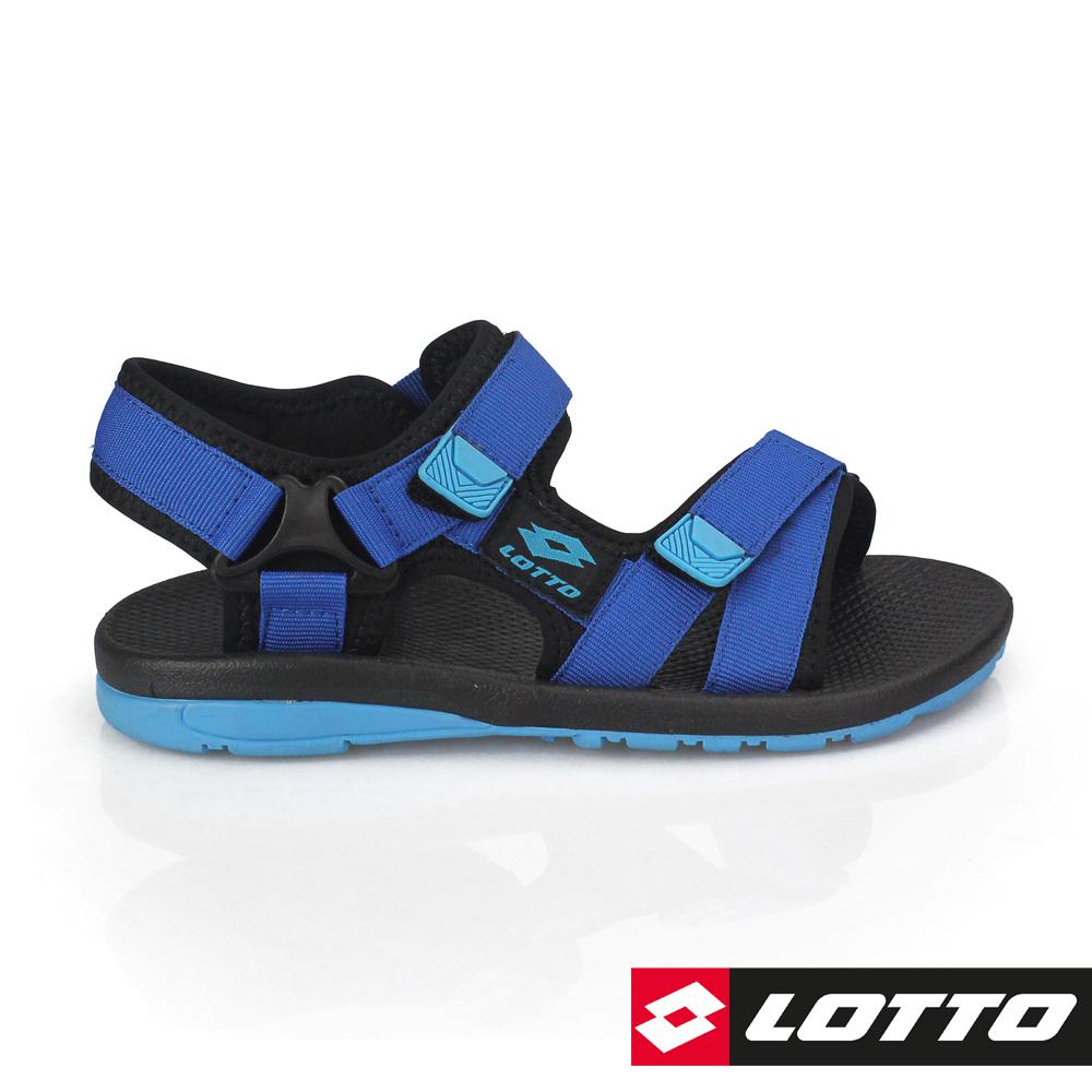 LOTTO 義大利 童 流行織帶涼鞋 (藍)