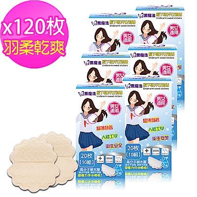 黑魔法 羽柔輕薄感腋下吸汗衣物貼(20片膚色/盒)x6
