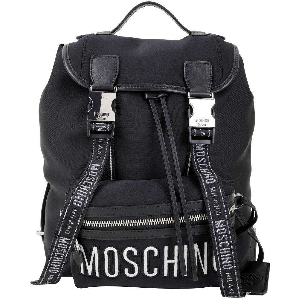 MOSCHINO 銀釦字母織帶太空棉料後背包(黑色)