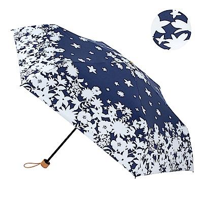 2mm 100%遮光 碎花剪影黑膠輕量手開傘 (藍色)