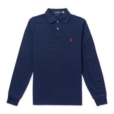 Polo Ralph Lauren 年度熱銷刺繡小馬長袖POLO衫(CUSTOM SLIM FIT)-深藍色