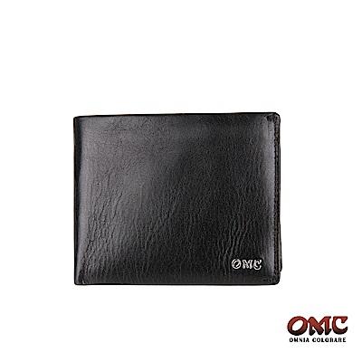 OMC 義大利進口牛皮精工6卡簡單款零錢短夾-黑色