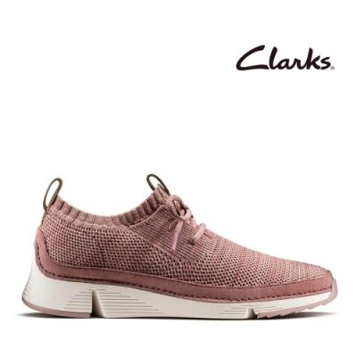 Clarks 運動行風-織面透氣襪套式鞋口輕量三瓣底女休閒鞋 藕粉