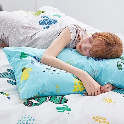 戀家小舖 / 雙人床包兩用被組  OH!仙人掌-兩色可選  100%精梳棉  台灣製