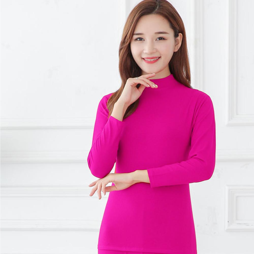 G+居家 女款輕磨毛暖暖發熱衣-立領-桃紅