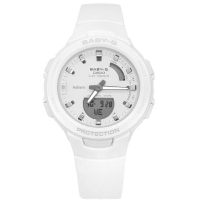Baby-G CASIO 卡西歐 雙顯 藍牙連線 鬧鈴 防水 橡膠手錶-白色/41mm