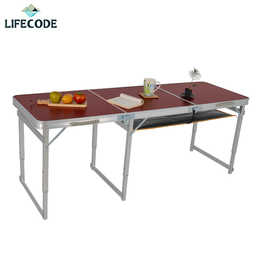 LIFECODE 加固鋁合金折疊桌-送桌下網(三段高度)180x60cm-紅木紋