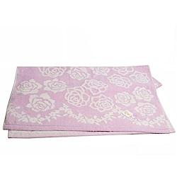 LANVIN 繽紛玫瑰蔓藤圖騰LOGO刺繡浴巾(粉紫系)