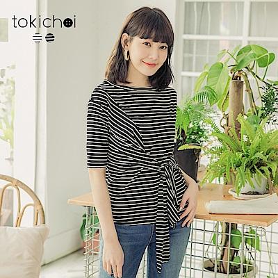 東京著衣-舒適親膚假綁帶造型條紋上衣-(共二色)