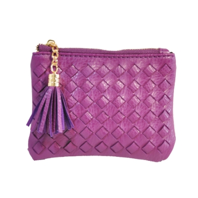 Miyo穿織流蘇拉鍊小錢包(紫)