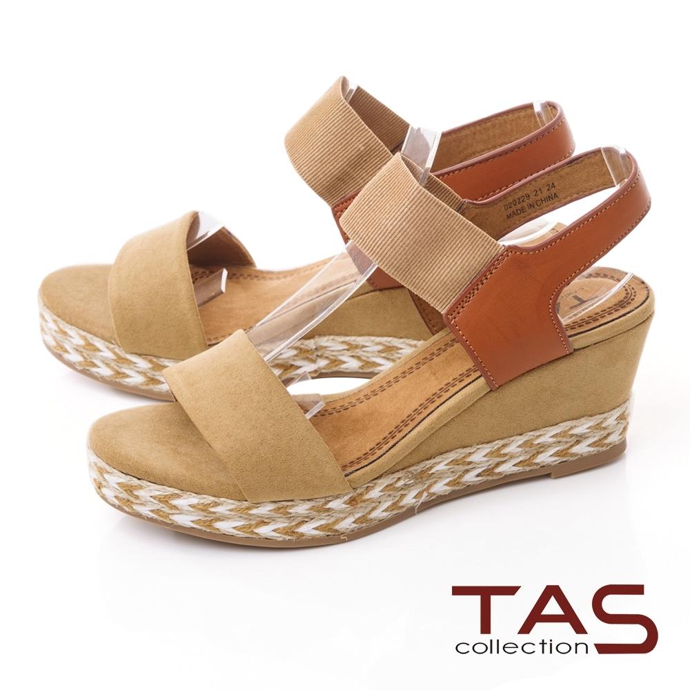 TAS一字鬆緊帶箭紋草編楔型涼鞋-焦糖卡其