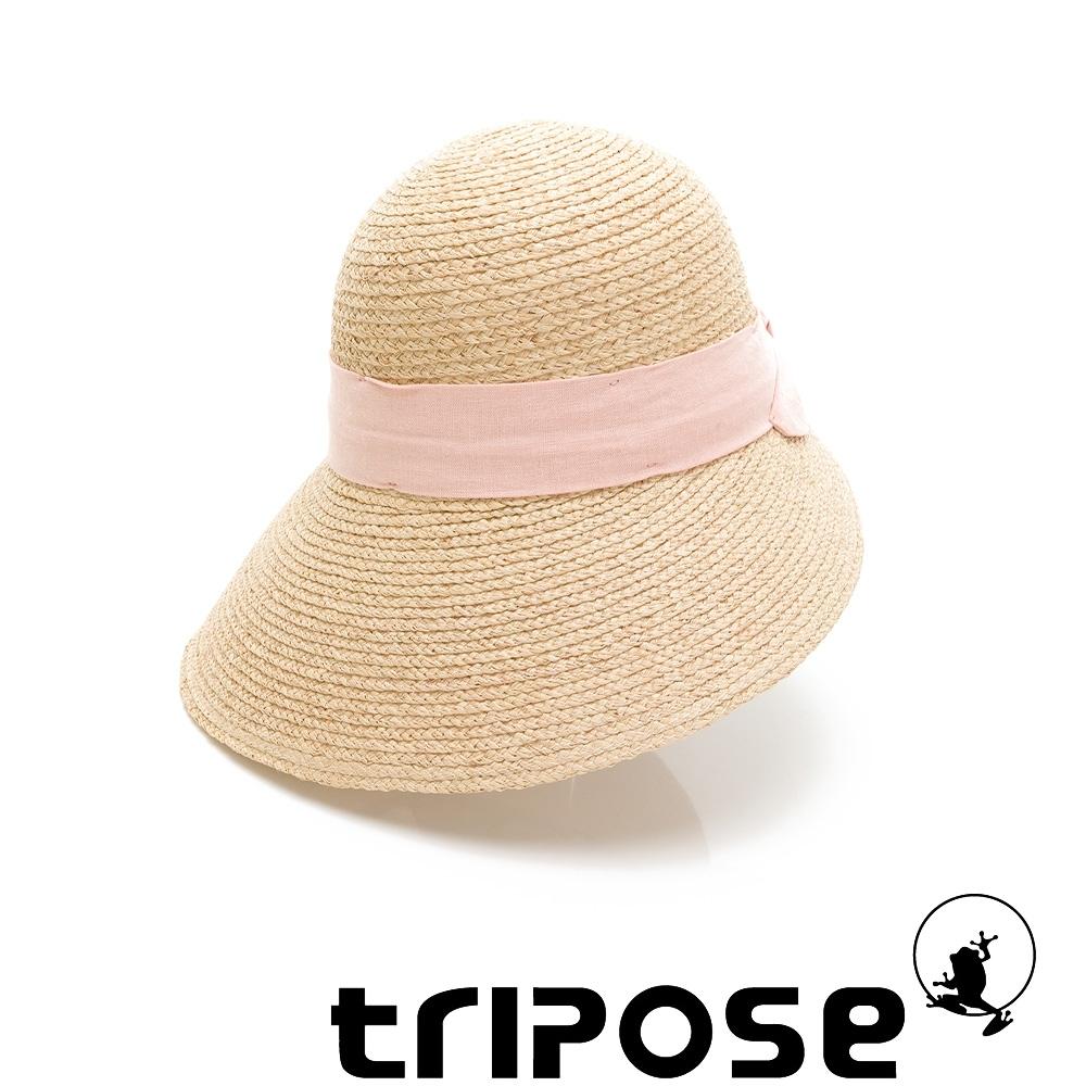 tripose INA 100% Raffia入門款不對稱設計草帽 (飾帶-粉色)