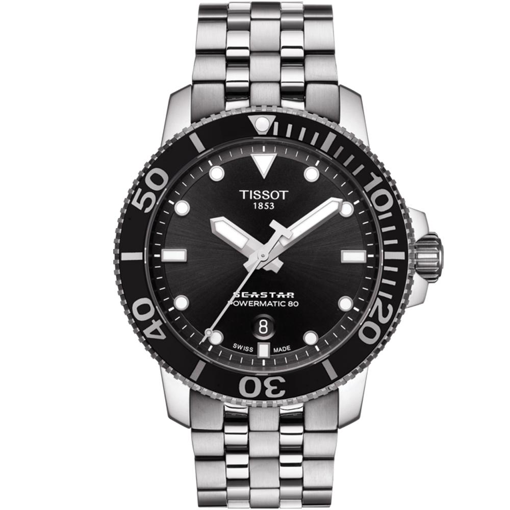 TISSOT Seastar 海星潛水機械錶(T1204071105100)黑
