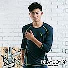PLAYBOY極限運動型男發熱保暖衣-丈青底綠線