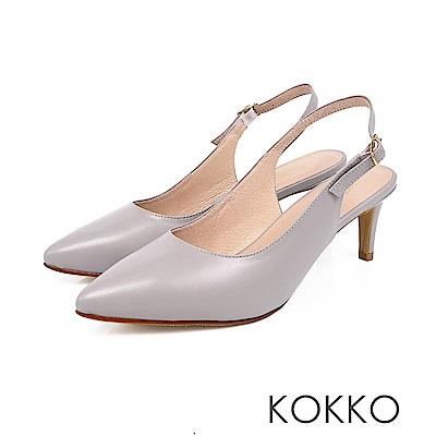 KOKKO - 花開燦爛後拉帶純色尖頭高跟鞋-霧灰藍