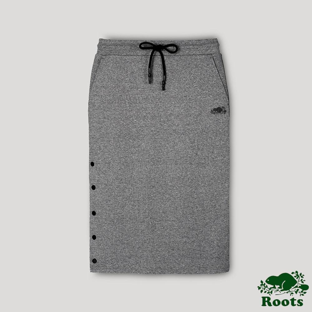 Roots女裝-開拓者系列 釘釦設計中長裙-灰色