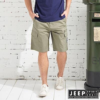 JEEP 潮流簡約口袋短褲-橄欖綠