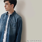 GIORDANO 男裝純棉雙口袋經典牛仔襯衫-01 牛仔藍