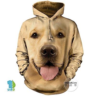 摩達客 美國The Mountain 大黃金獵犬臉 中性套頭長袖連帽T恤