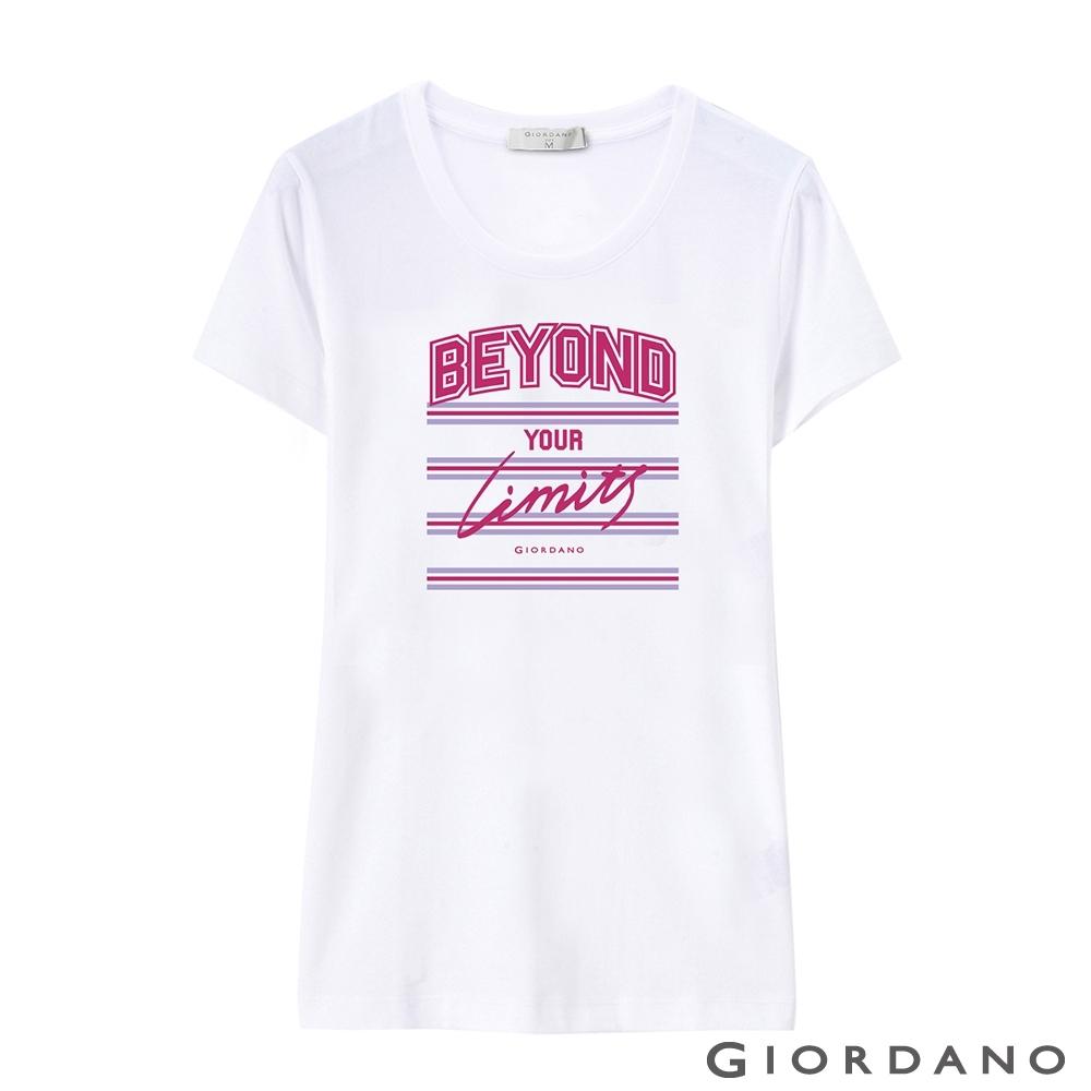 GIORDANO 女裝棉質圓領標語印花T恤-   37 標誌白