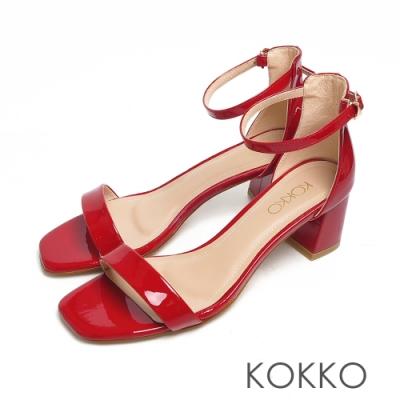 KOKKO時髦方頭牛漆皮一字帶粗跟繫帶涼鞋烈焰紅